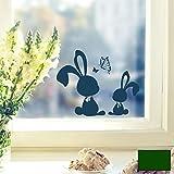 Fensterbild Wandtattoo Hasen Kaninchen mit Schmetterlingen M1859 ausgewählte Farbe: *dunkelgrün* ausgewählte Größe: *L*