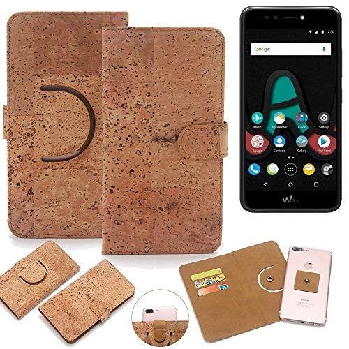K-S-Trade Schutz Hülle für Wiko Upulse Lite Handyhülle Kork Handy Tasche Korkhülle Handytasche Wallet Case Walletcase Schutzhülle Flip Cover Smartphone
