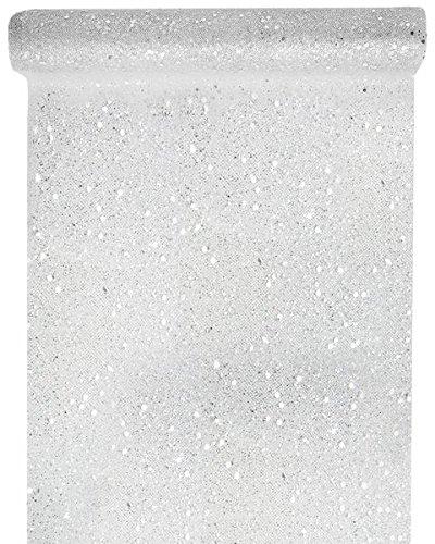 Tischläufer Tüll Glitter 30cm x 5m Silber Tüllstoff Tischdecke Hochzeit Dekostoff Deko (Hochzeit Tischdecken)