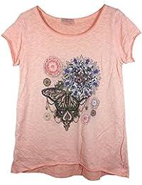 Damen T-Shirt in Ethno-Style mit Print und Pailetten in Vokuhila-Schnitt, MADE IN ITALY