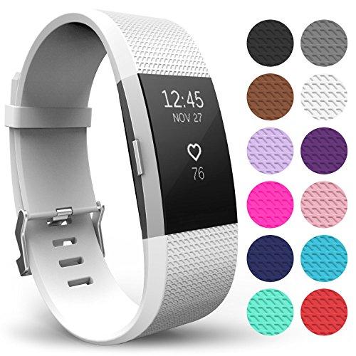 Yousave Accessories® FitBit Charge 2 Armband, Ersatz Armband – Wristband erhältlich in 12 Farben – Klein, Weiß
