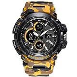 LXH-Rain Gear Supplies Alarma de Camuflaje para Damas Multifunción Deportes 50M Reloj Ligero Impermeable Relojes de Cuarzo para Hombres Paraguas (Color : Amarillo, Size : Gratis)