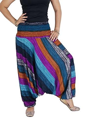 AuthenticAsia - Pantalon de sport - Sarouel - Femme Multicolore bigarré Taille Unique - Multicolore - Taille