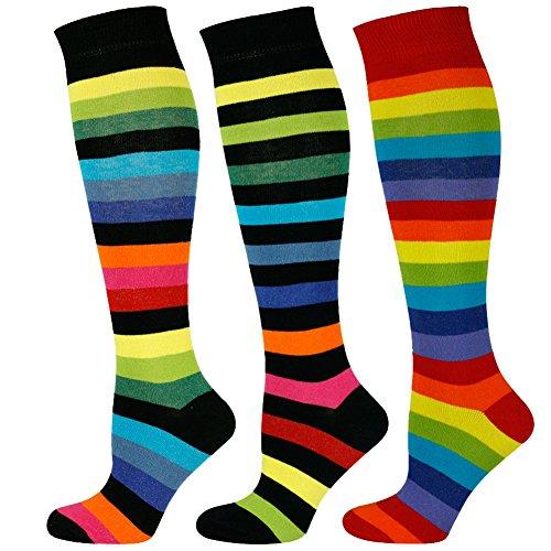 Mysocks Calcetines a rayas Rodilla Alta Rainbow 3 pares