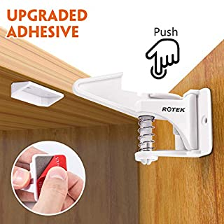 ROTEK Child Safety Locks, Strong Adhesive and Unlocked Design, Baby Proofing Cupboard Locks for Drawers and Kitchen Cabinets, Invisible Home Safety Latches Easy to Install, No Drilling Needed,10 Pack