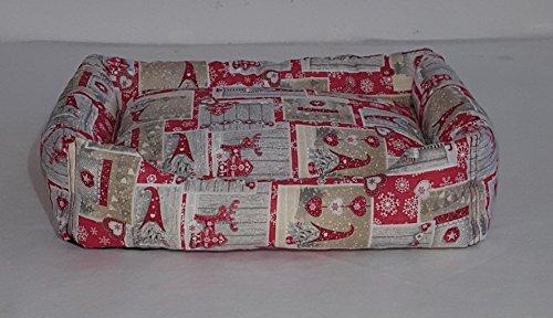 Niches lit pour chiens et chats Fond Antidérapant fantaisie Noël M immagini natalizie su fondo rosso argento e bianco