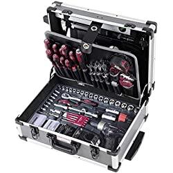 """Valise à outils b128avec perceuse/visseuse de batterie Panasonic, Trolley, 1/4""""+ 3/8"""", 163pièces."""