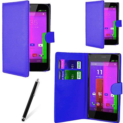 Gr8 Value & a libro magnetica in pelle sintetica con linguetta per Motorola Moto G & G 4G Penna stilo
