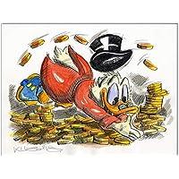 Original Feder und Aquarell auf Aquarellkarton:Dagobert Duck Gold bath / 24x32 cm