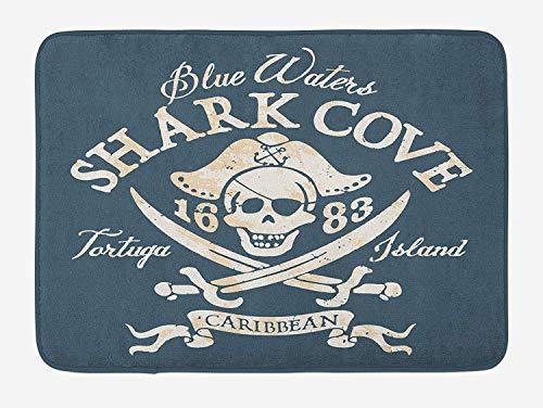 Pirate Bath Mat, Shark Cove Tortuga Island Caribbean Waters Retro Jolly Roger, Plush Bathroom Decor Mat with Non Slip Backing, 23.6 W X 15.7 W Inches, Slate Blue White Pale ()