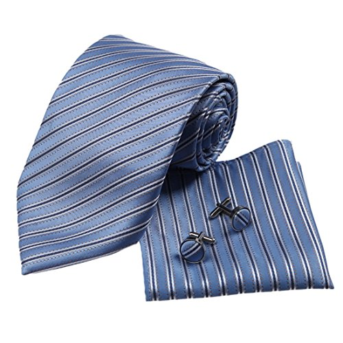 H5171 Blue Designer Mens Wedding Gifts Silk Necktie Cuff Links Hanky Set 3pt By Y&G