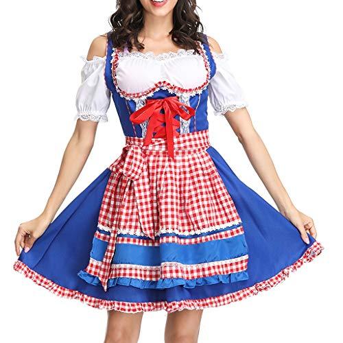 Cosplay K Billig On Kostüm - WUDUBE 2019 Bierfest Kariertes Kleid Damen Knielang Kleider Oktoberfest Kostüm Maid Dress Partykleider Cosplay Kleid Restaurant Kellner Kleider DienstmäDchen Kostüm Blau, Rot