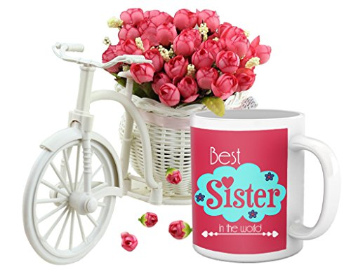 TiedRibbons® Sending Gifts For Sister (Coffee Mug and Cycle Vase with Flower)