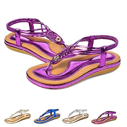 Camfosy Damen Flach Sommer Sandalen,Frauen Strand Elastischen Gemütlich Webmuster Schuhe Knöchelriemchen FreizeitUrlaub rutschfest Sommerschuhe Metall Lila 42 EU