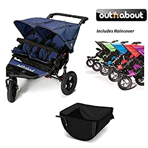 Out n About V4 Double Stroller with Basket - Royal Navy   5