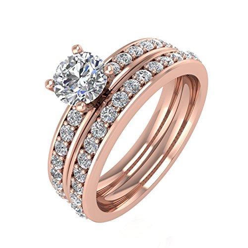 Diamond  -  Gold 14 Karat (585)  14ct Roségold Rundschliff   Feines Weiß/Top Wesselton (G) - Weiß/Wesselton (H) Diamant  (Diamond 4-karat-ehering-sets)