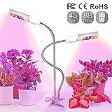 Relassy 45W LED Vollspektrum Pflanzenlampe 88 LEDs Wachstumslampe mit zwei auswechselbaren Beleuchtungskörpern Pflanzenlicht mit verstellbarem Schwanenhals, geeignet für Zimmerpflanzen und Gewächshaus sowie für Hydroponik (M-45W)