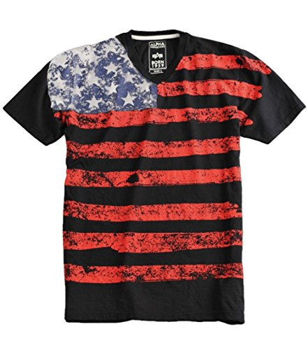 Alpha Industries US T-Shirt USA Shirt (L, black) (Black Us Alpha Army)