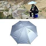 Outdoor Angeln Faltbare elastischen Kopf Anti-UV Sonnenschirm-Kappe Silber