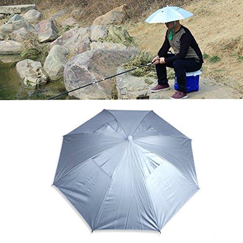 Pesca al aire libre plegable elástico Jefe Anti-UV paraguas del sombrero del casquillo de plata