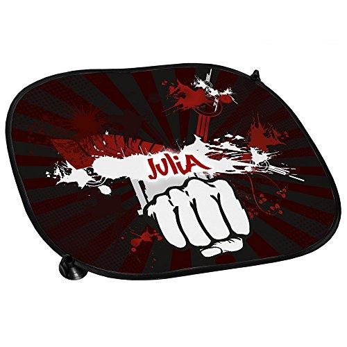 Preisvergleich Produktbild Auto-Sonnenschutz mit Namen Julia und schönem Motiv mit dunkelroten Streifen und Faust | Auto-Blendschutz | Sonnenblende | Sichtschutz