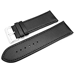 Black Leather Watch Strap Band With A Stitched Edging And Nubuck Lining 30mm