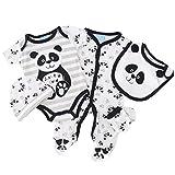 5 Teile Jungen Set Panda schwarz weiß Body, Strampler, Mütze, Latz, Handschuhe 0-3 Monate (56/62)