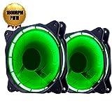 EASYDIY 2-Pack PC Gehäuse Lüfter 120mm Lüfter mit Dual Grün LED Ring montiert 25mm Dick Leise PWM 4-poliger Lüfter (800-1800 RPM)-Grün