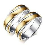 Bishilin Paarepreis Edelstahl Ringe Paare Männer Vergoldet Hochglanzpoliert Breite 6MM Eherring Partnerringe Silber Gold Größe 62 (19.7) & Größe 62 (19.7)