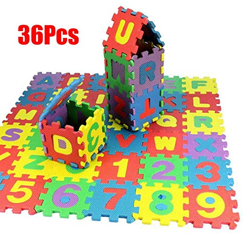 Saubhagya Global 36pcs/Set Children Alphabet Letters Numerals Puzzle Colourful Kids Rug Play Mat Soft Floor Crawling Puzzle Kids Educational Toys