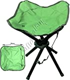 4 LEGS STRONG CHAIR SEAT FOLDING CAMPING STOOL PORTABLE HIKING FISHING BBQ COLOURS AVAILABLE (Green)