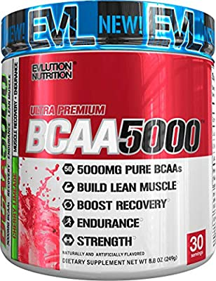 Evlution Nutrition BCAA5000 Powder 5 Grams of Premium BCAAs, 30 Servings from Evlution