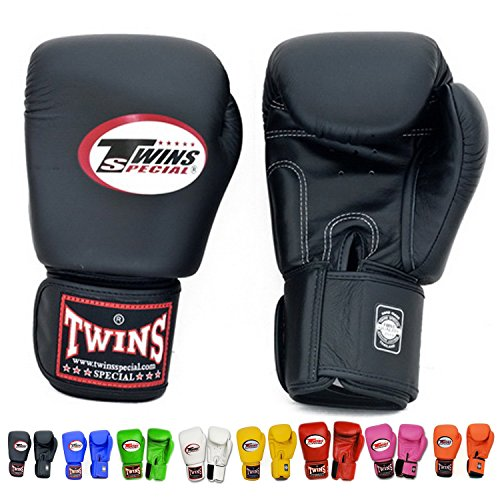 Twins Special Muay Thai Boxing Gloves BGVL-3 Black 8-10-12-14-16 Oz. (14 Oz.)