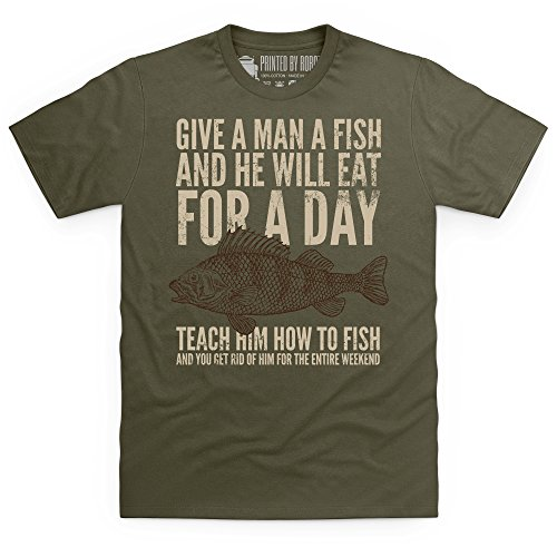 Give A Man A Fish T-shirt, Uomo Verde oliva