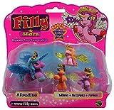 Dracco Filly Glitzer Stars 4er Set Mutter mit 3 kleine Pferdchen,Einhörner Spiel- und Sammelfiguren für Kinder, Mädchen (Afrodite mit Libra, Scorpio, Aries)