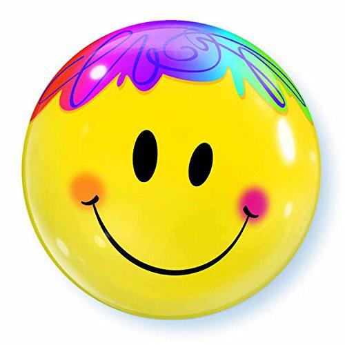 Qualatex Folien-Luftballon mit Smiley-Gesicht, rund, 56 cm (Einheitsgröße) (Gelb)