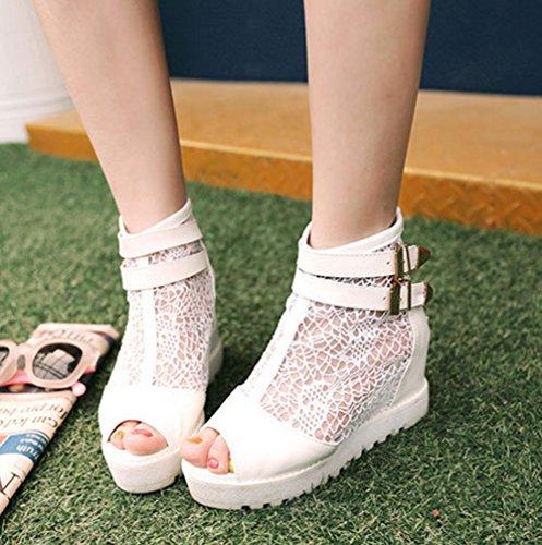 Aisun Damen Modern Peep Toe Spitze Mesh Durchgängig Plateau Unsichtbar Keilabsatz Sandale Weiß