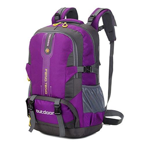 Impermeabile All'aperto Zaino Sport Borsa 50L Grande Capacità Da Viaggio Borsa,Black-OneSize Purple