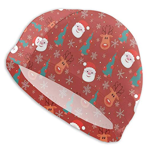 GUUi Swimming Cap Elastic Swimming Hat Diving Caps,Smiling Cartoon Santa with Rudolph Tree and Snowflakes Merry Christmas Holiday,for Men Women Youths Merry Mushroom