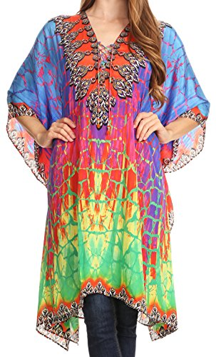 (Sakkas P2 - Kristy Long Tall Leichtes Kaftan Kleid/Cover mit V-Neck Juwelen - 17127-GreenBlue - OS)