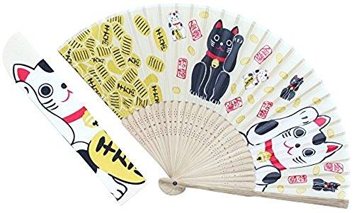 Kyoyu Winkekatze Maneki Neko Seide Stoff Sensu (klappbar Fan) k-126