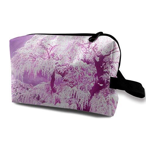 With Wristlet Cosmetic Bags Cherry Blossom Tree Travel Portable Makeup Bag Zipper Wallet Hangbag