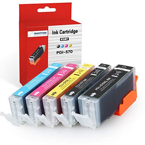 SMARTOMI confezione da 5 cartucce inchiostro PGI-570 XL CLI-571 XL compatibili con Canon pgi-570 cli-571 Ink multipack per uso con stampanti CANON Pixma serie MG 5750 5751 5752 5753 6851 6850 7750