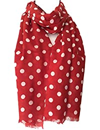Purple Possum Red Polka Dot Scarf, White Spotted Wrap, Ladies Cotton Blend Spotty Fair Trade Shawl