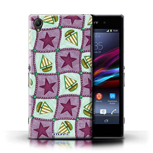 Kobalt® Imprimé Etui / Coque pour Sony Xperia Z1 / Pourpre/Vert conception / Série Bateaux étoiles Violettes/Vertes