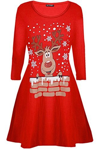 Kostüm Übergröße Damen Weihnachten - Be Jealous Damen Santa Rentier Wall Schneeflocken Kostüm Weihnachten Swing Kleid UK Übergröße 8-26 - Rentier Wall rot, Plus Size (UK 16/18)