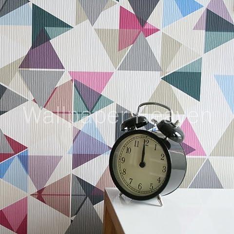 Tri-Colour Geometric Graphic Design Wallpaper in Multi-Colour Sample