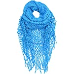 Shark Tooth Women Knit Infinity Scarf Winter Warm with Fringe