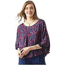 Marie Claire Women Blue & Red Floral Print Cape Top (MC404)