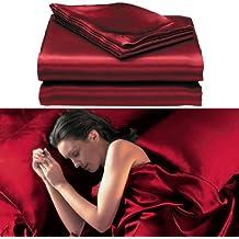 Juego de cama de matrimonio (6 piezas), color rojo